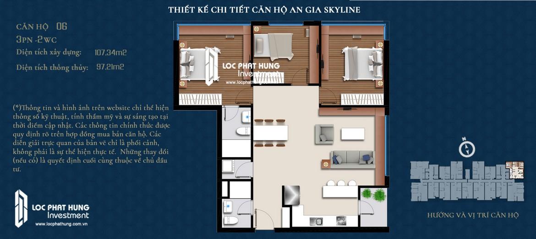 Thiết kế căn hộ An Gia Skyline diện tích 107m2 - Thiết kế 3 Phòng ngủ - 2 Vệ sinh
