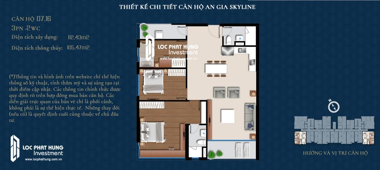Thiết kế căn hộ An Gia Skyline diện tích 112m2 - Thiết kế 3 Phòng ngủ - 2 Vệ sinh