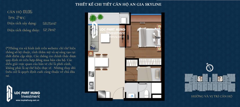 Thiết kế căn hộ An Gia Skyline diện tích 58m2 - Thiết kế 2 Phòng ngủ - 1 Vệ sinh