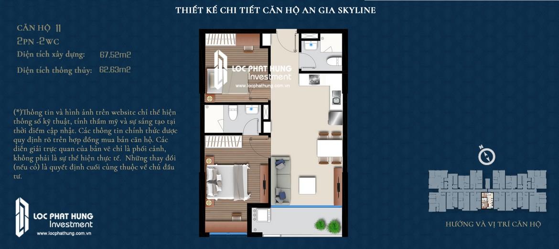 Thiết kế căn hộ An Gia Skyline diện tích 68m2 - Thiết kế 2 Phòng ngủ - 2 Vệ sinh