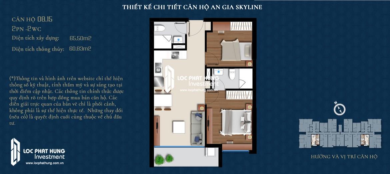 Thiết kế căn hộ An Gia Skyline diện tích 66m2 - Thiết kế 2 Phòng ngủ - 2 Vệ sinh