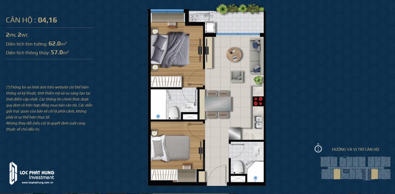 Thiết kế căn hộ 02 phòng ngủ – 2WC Mã căn hộ: 04,16 Diện tích xây dựng: 62m2 Diện tích thông thủy: 57m2 Hướng view: Công Viên nội khu, Kênh Đào, Hồ Sky Pear.