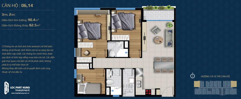 Thiết kế căn hộ 03 phòng ngủ – 2WC Mã căn hộ: 06,14 Diện tích xây dựng: 90.4m2 Diện tích thông thủy: 82.5m2 Hướng view: Công Viên nội khu, Kênh Đào, Hồ Sky Pear Sông Sài Gòn, Quận 1