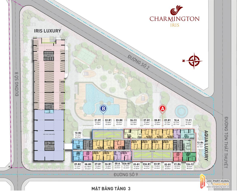 Mặt bằng tầng 3 dự án căn hộ Charmington Iris Quận 4