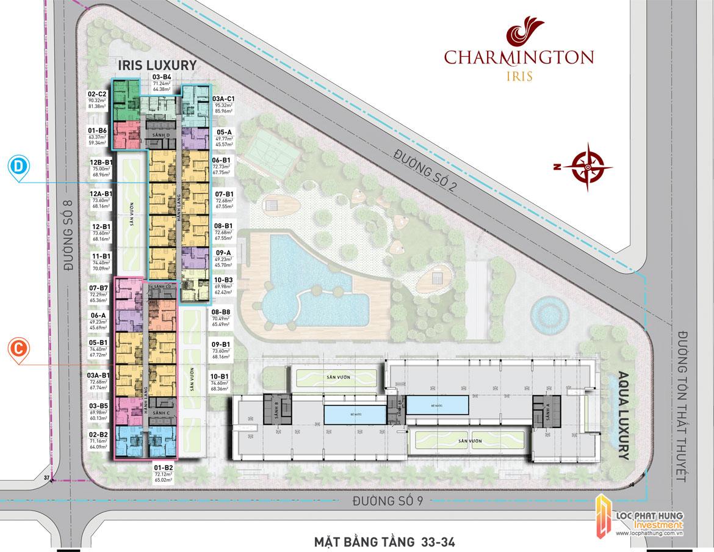 Mặt bằng tầng 33-34 dự án căn hộ Charmington Iris Quận 4