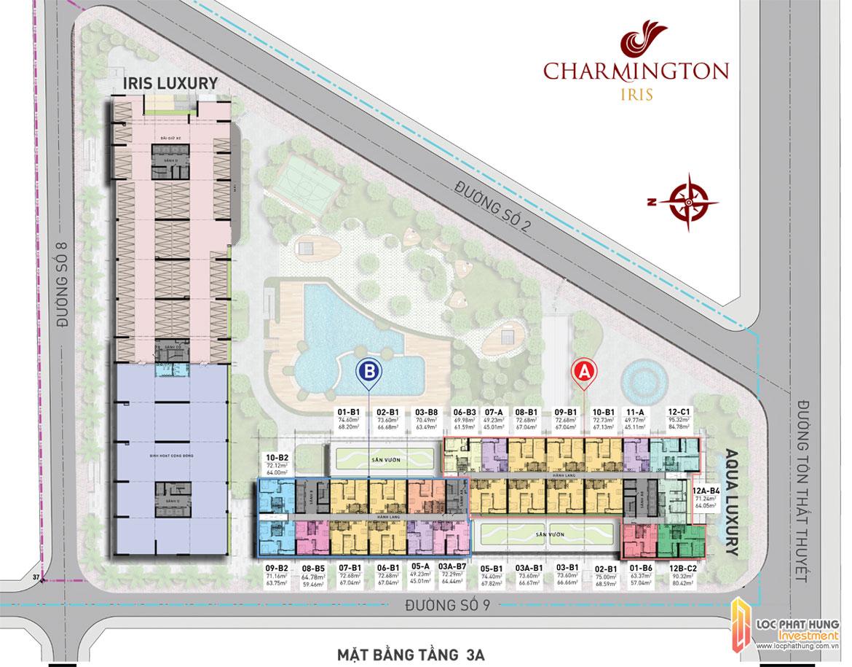 Mặt bằng tầng 3A dự án căn hộ Charmington Iris Quận 4