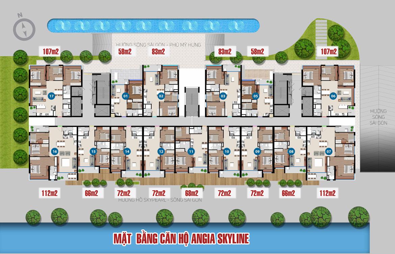 Mặt bằng thiết kế căn hộ An Gia Skyline - Tầng 03 - 34