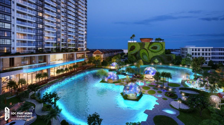 Hồ bơi tầng SkyPear dự án căn hộ chung cư River Panorma Quận 7