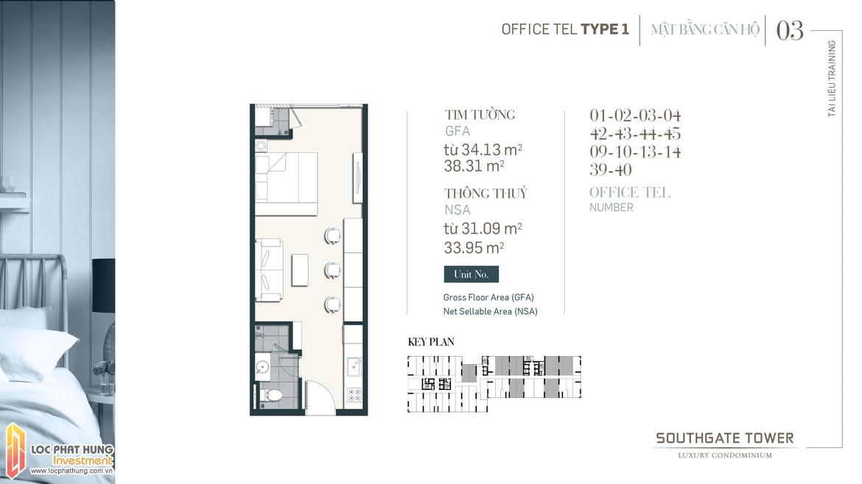 Thiết kế Officetel dự án South Gate Tower Quận 7 Loại 1 Diện tích 34.13m2-38.31m2 Diện tích thông thủy: 31.09m2-33.95m2
