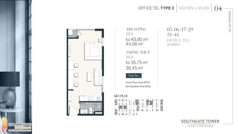 Thiết kế Officetel dự án South Gate Tower Quận 7 Loại 02 Diện tích 40.80m2 - 44.06m2 Diện tích thông thủy: 35.75m2-38.45m2