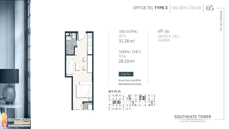 Thiết kế Officetel dự án South Gate Tower Quận 7