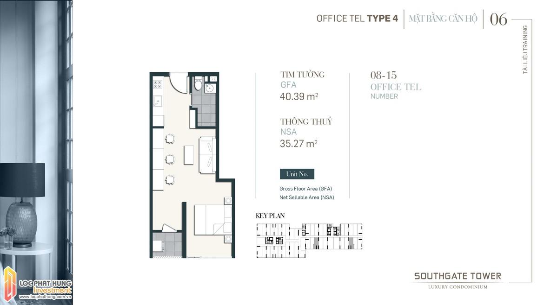 Thiết kế Officetel dự án South Gate Tower Quận 7 Loại 04 Diện tích xây dựng 40.39m2 Diện tích thông thủy: 35.27m2