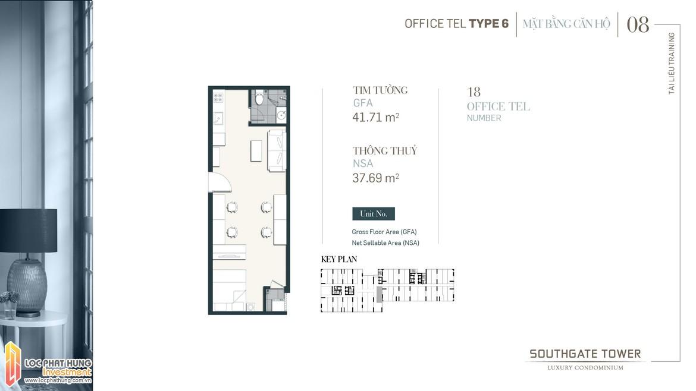 Thiết kế Officetel dự án South Gate Tower Quận 7 Loại 06 Diện tích xây dựng 47.71m2 Diện tích thông thủy: 37.69m2