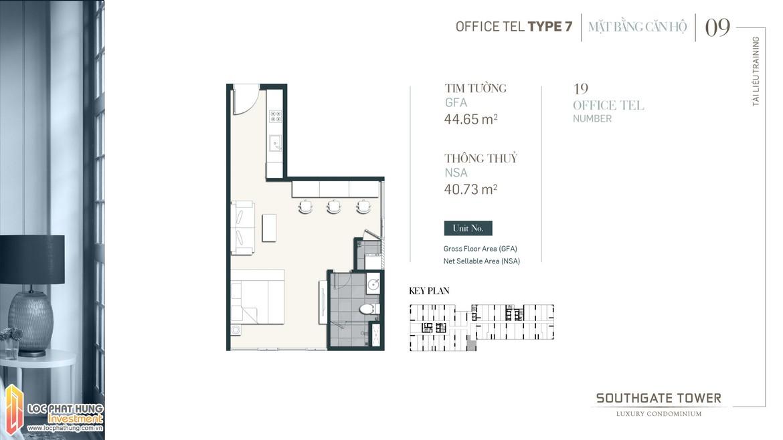 Thiết kế Officetel dự án South Gate Tower Quận 7 Loại 07 Diện tích xây dựng 44.65m2 Diện tích thông thủy: 40.737m2