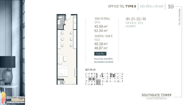 Thiết kế Officetel dự án South Gate Tower Quận 7 Loại 08 Diện tích xây dựng 45.59m2-52.34 Diện tích thông thủy: 40.28m2-46.87m2