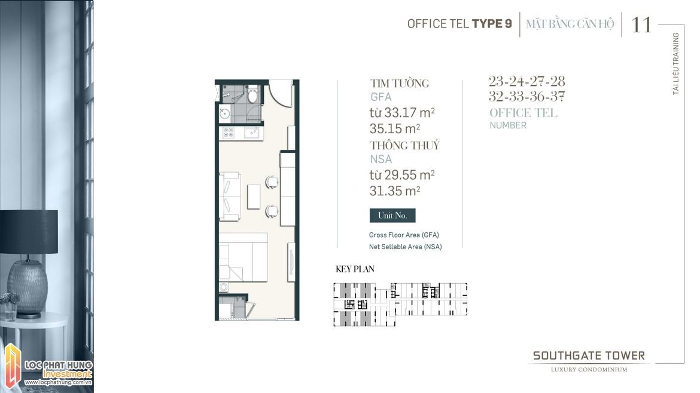 Thiết kế Officetel dự án South Gate Tower Quận 7 Loại 09 Diện tích 33.17m2 - 35.15 Diện tích thông thủy: 29.55m2-31.35m2