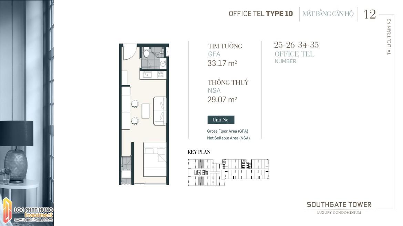 Thiết kế Officetel dự án South Gate Tower Quận 7 Loại 12 Diện tích 33.17m2 Diện tích thông thủy: 29m2