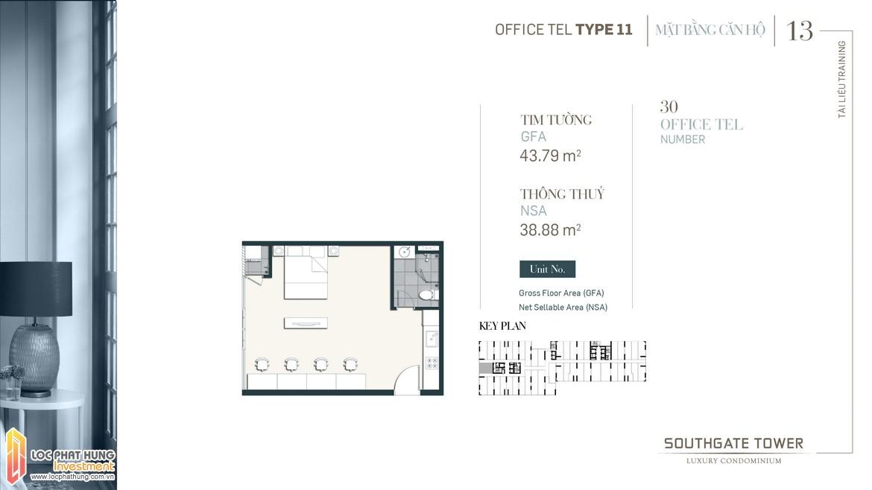 Thiết kế Officetel dự án South Gate Tower Quận 7 Loại 11 Diện tích xây dựng 47.79m2 Diện tích thông thủy: 38.88m2