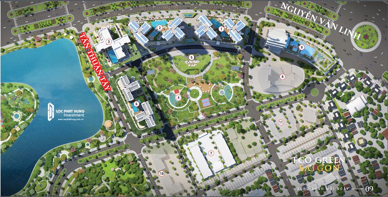 Quy mô tổng thể 14ha và công viên Hương Tràm 22ha bên cạnh dự án Eco Green Sài Gòn. EcoGreen Saigon được quy hoạch và thiết kế concept bởi Plus Architecture Australia – Công ty tư vấn thiết kế kiến trúc nổi tiếng của Australia. Với phong cách thiết kế hiện đại, đơn giản và sang trọng, tối ưu hóa công năng sử dụng, dự án gồm các Tòa căn hộ, Khách sạn cao cấp, Trung tâm tổ chức sự kiện quy mô lớn nhất thành phố. Mỗi tòa nhà đều có 4 mặt thoáng, view sông Sài gòn, Quận 2, Trung tâm Quận 1, Công viên Hương Tràm, Công viên Eco Green và Hồ bơi, đảm bảo tầm nhìn thoáng đãng.