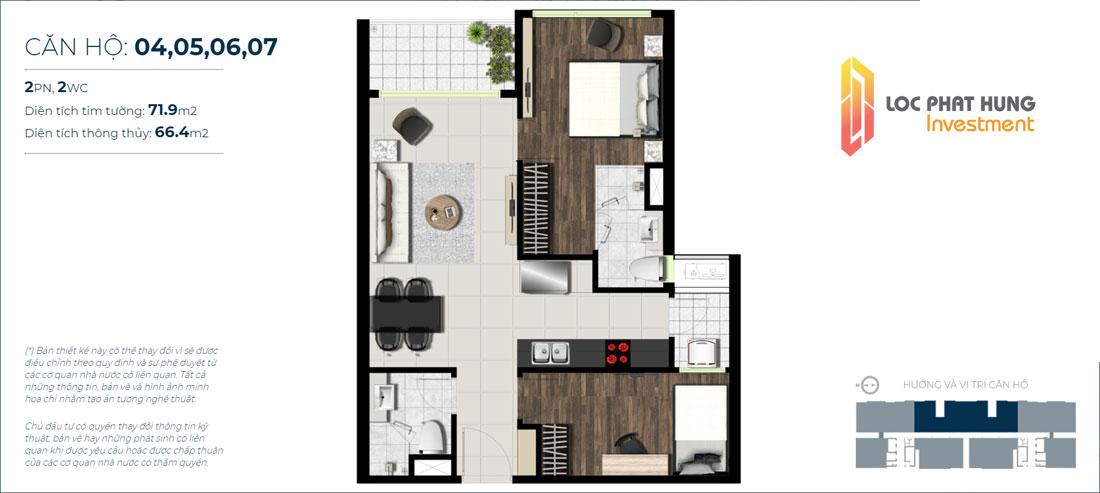 Thiết kế căn hộ 2 phòng ngủ Sky 89 Mã căn hộ: 04,05,06,07 Diện tích xây dựng: 71,9m2 Diện tích thông thủy: 66,4m2 Hướng view: Hướng Sông Sài Gòn, Cầu Phú Mỹ