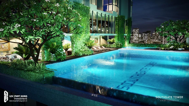 Hồ bơi chân mây tại tầng 9 dự án căn hộ SouthGate Tower