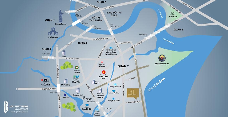 Vị trí địa chỉ dự án căn hộ River Panorama Quận 7
