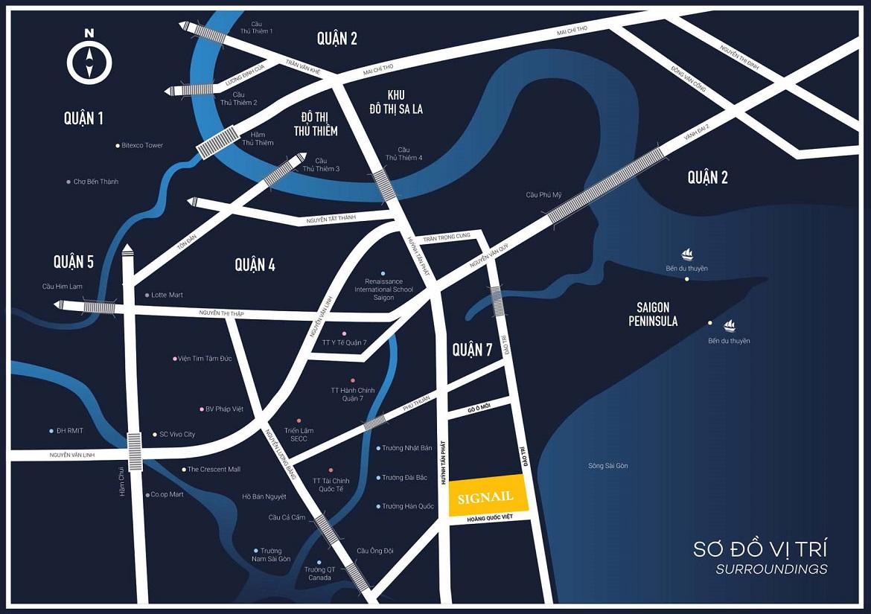 Vị trí địa chỉ dự án căn hộ chung cư smartel officetel The A Quận 7 đường hoàng Quốc Việt