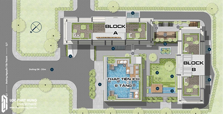 Mặt bằng thiết kế tổng thể dự án căn hộ Lancaster Lincoln Quận 4. Block A và B mỗi Block cao 40 tầng với độ cao 154m cao nhất quận 4 cho tất cả tòa nhà. Và 1 Tháp tiệp ích 8 tầng được xây dựng riêng để gia tăng tiện ích cho cư dân.