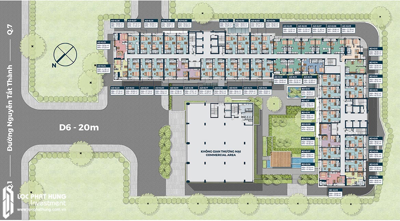 Mặt bằng tầng 03-06 căn hộ officetel Lancaster Lincoln Quận 4