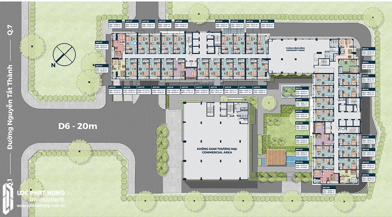 Mặt bằng tầng 7 căn hộ officetel Lancaster Lincoln Quận 4