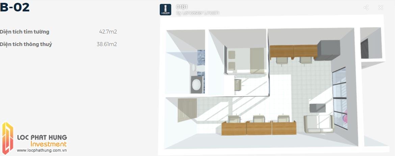 Mặt bằng căn hộ Officetel B-02 1 phòng ngủ Lancaster Lincoln