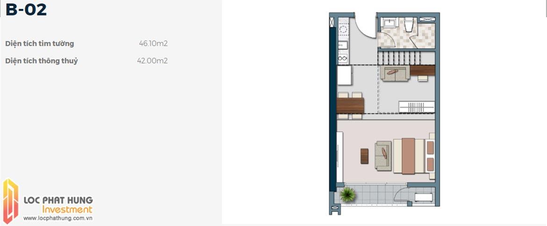 Mặt bằng thiết kế căn hộ B-02 1 phòng ngủ dự án Lancaster Lincoln