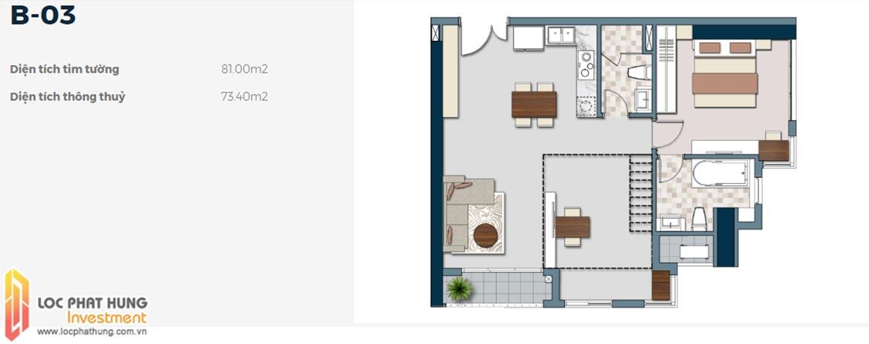 Mặt bằng thiết kế căn hộ B-03 1 phòng ngủ dự án Lancaster Lincoln