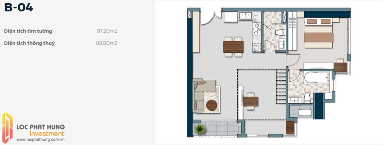 Mặt bằng thiết kế căn hộ B-04 1 phòng ngủ dự án Lancaster Lincoln