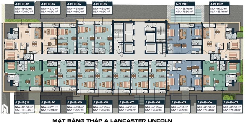 Mặt bằng tháp A Lancaster Lincoln Quận