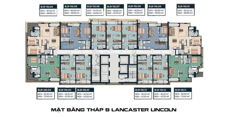 Mặt bằng tháp B Lancaster Lincoln