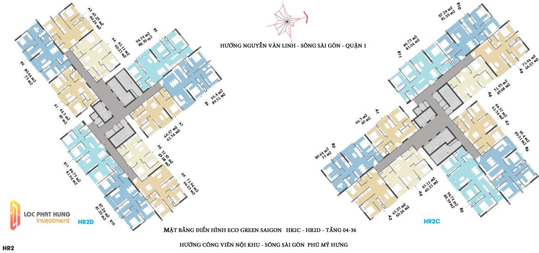 Mặt bằng HR2C - HR2D dự án căn hộ Eco Green Sài Gòn Quận 7 - Tầng 03 -36