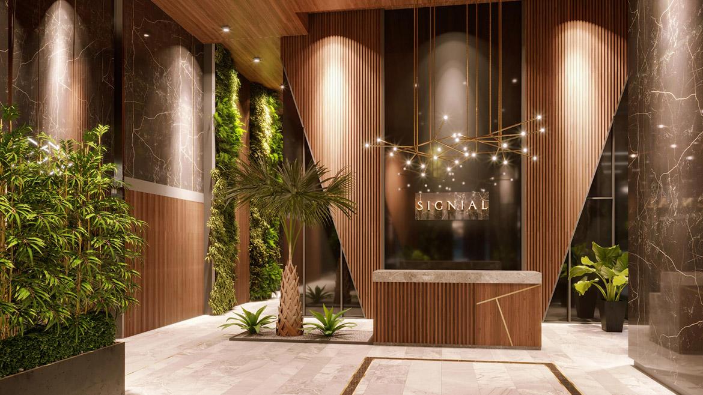 Sảnh đón tầng trệt dự án căn hộ smartel The A quận 7 đường Hoàng Quốc Việt