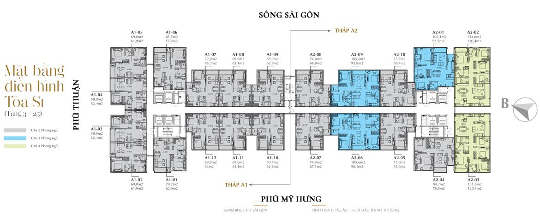 Mặt bằng S1 từ tầng 3-25 dự án căn hộ chung cư Sunshine City Saigon - Tầng 03-11 loại hình văn phòng đa năng (Officetel). - Tầng 12-26 loại hình căn hộ để ở.