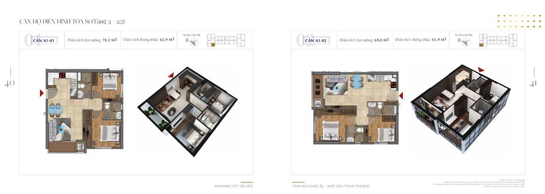 Mặt bằng thiết kế chi tiết Block S1 dự án Sunshine City Sài Gòn Quận 7 - Mã căn hộ S1-A1-01-+-A1-02