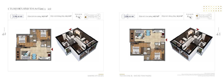 Mặt bằng thiết kế chi tiết Block S1 dự án Sunshine City Sài Gòn Quận 7 - Mã căn hộ S1-S1-A1-03 + S1-A1-04