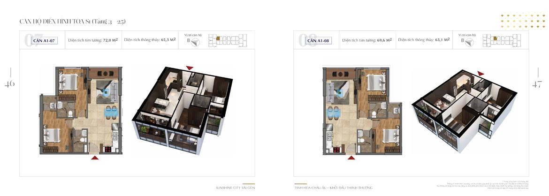 Mặt bằng thiết kế chi tiết Block S1 dự án Sunshine City Sài Gòn Quận 7 - Mã căn hộ S1-A1-07 + S1-A1-08