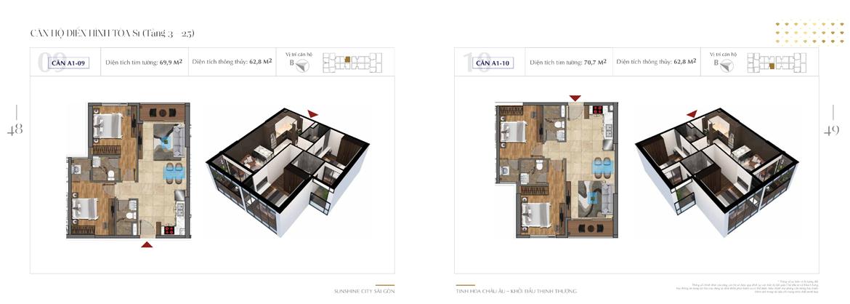 Mặt bằng thiết kế chi tiết Block S1 dự án Sunshine City Sài Gòn Quận 7 - Mã căn hộ S1-A1-09 + S1-A1-10