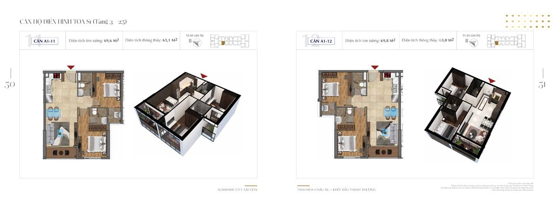 Mặt bằng thiết kế chi tiết Block S1 dự án Sunshine City Sài Gòn Quận 7 - Mã căn hộ S1-A1-11 + S1-A1-12