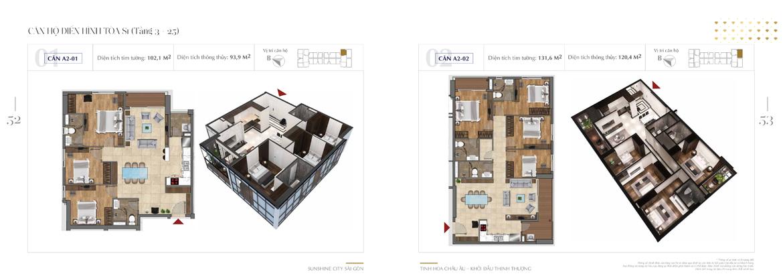 Mặt bằng thiết kế chi tiết Block S1 dự án Sunshine City Sài Gòn Quận 7 - Mã căn hộ S1-A2-01 + S1-A1-02