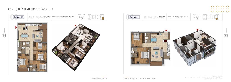 Mặt bằng thiết kế chi tiết Block S1 dự án Sunshine City Sài Gòn Quận 7 - Mã căn hộ S1-A2-03 + S1-A2-04