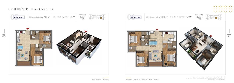 Mặt bằng thiết kế chi tiết Block S1 dự án Sunshine City Sài Gòn Quận 7 - Mã căn hộ S1-A2-05 + S1-A2-06