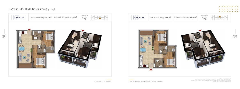 Mặt bằng thiết kế chi tiết Block S1 dự án Sunshine City Sài Gòn Quận 7 - Mã căn hộ S1-A2-07 + S1-A2-08
