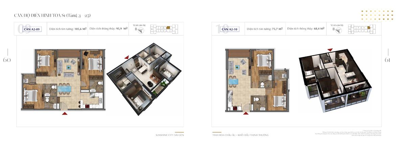 Mặt bằng thiết kế chi tiết Block S1 dự án Sunshine City Sài Gòn Quận 7 - Mã căn hộ S1-A2-09 + S1-A2-10