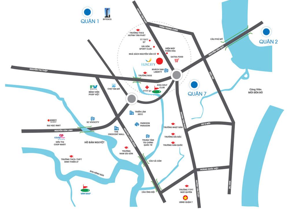 Mua bán cho thuê dự án căn hộ chung cư officetel Luxcity Quận 7 Đường Phú Thuận chủ đầu tư Đất Xanh